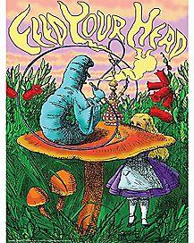 Smoking Caterpillar Blacklight Poster - Alice in Wonderland