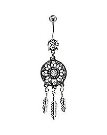 CZ Dream Catcher Dangle Belly Ring - 14 Gauge