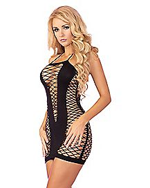 Seamless Halter Fishnet Dress
