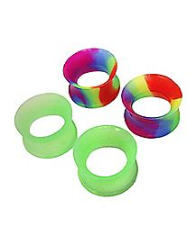 Rainbow and Green Glow Tunnel Plugs - 2 Pair