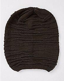 Olive Rib Hem Slouch Beanie Hat