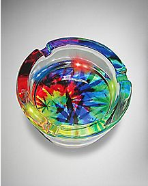 LED Tie Dye Weed Leaf Ashtray