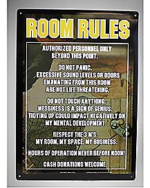 Camouflage Room Rules Metal Sign