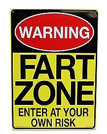 Warning Fart Zone Metal Sign