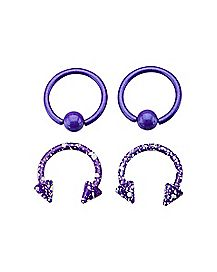 16 Gauge Purple & White Captive Horseshoe Set 2 Pack