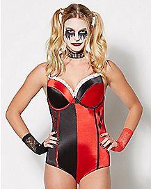Satin Harley Quinn Bodysuit