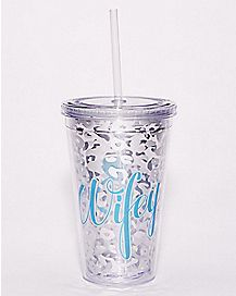 Cheetah Wifey Cup with Straw 16 oz.