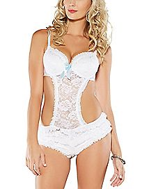 Lace Ruffle Teddy - White