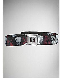 Skulls Punisher Seatbelt Belt Red