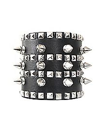 Wide Cuff with Spikes and Studs