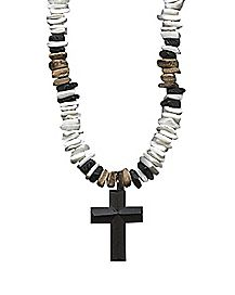 Cross Pendant Charm Shell Necklace