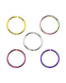 Colored Hoop Nose Ring 5 Pack - 20 Gauge