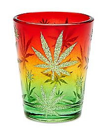Glitter Fade Rasta Weed Leaf Shot Glass