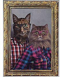 Cat Couple Portrait Metal Sign