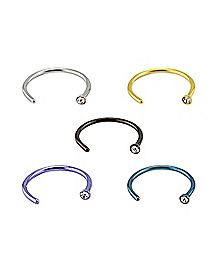 Colored Hoop Nose Ring 5 Pack - 18 Gauge