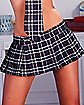 Dark Blue Plaid School Girl Mini Skirt