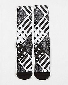 Sublimated Flag Crew Socks Black and White
