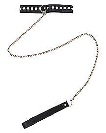 Studded Black Choker & Leash Kit