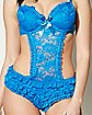 Lace Ruffle Teddy- Sapphire