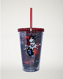 Doll DC Comics Harley Quinn Cup with Straw - 16 oz.