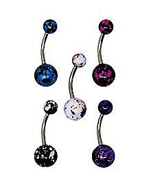 Colored Splatter Belly Ring 5 Pack - 14 Gauge