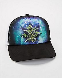 Weed Leaf Galaxy Trucker Hat