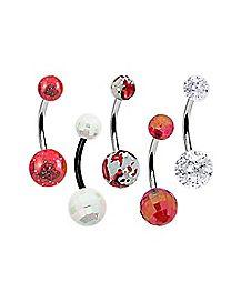 Red & White Glitter Belly Ring 5 Pack -14 Gauge