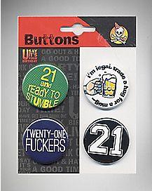 Ready to Stumble 21st Birthday Button Set