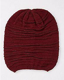Ribbed Hem Slouchy Beanie Hat