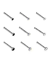 CZ Stud Nose Ring 9 Pack - 20 Gauge