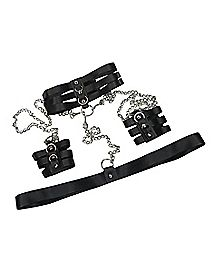 Chain Choker and Handcuff Bondage Costume Accessory Set