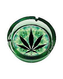 Green and Black Weed Leaf Ashtray