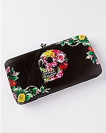 Flower Skull Kisslock Wallet