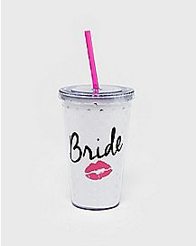 Bride Lips Cup with Straw - 16 oz.