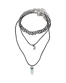 Tattoo Moon and Crystal Necklace 3 Pack