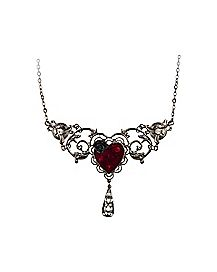 Red Heart Filligree Necklace