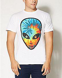 Tie Dye Alien Head T Shirt