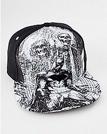 Sublimated Skull Batman Snapback Hat