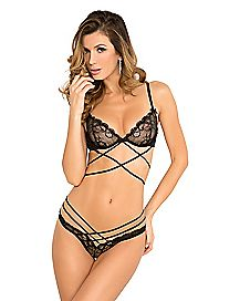 Lace Criss Cross Bra and Panties Set