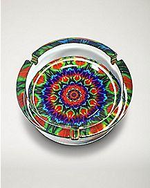 Spiral Tie Dye Ashtray - Glass