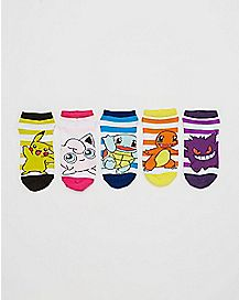 Character Pokemon No Show Ankle Socks 5 Pair
