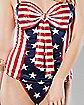 Americana Corset and G-String Panties Set