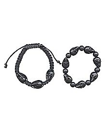 Black Skull Bead Bracelet 2 Pack