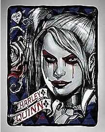 Arkham Harley Quinn Fleece Blanket - DC Comics