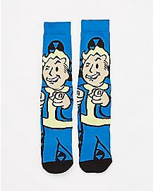 Winking Vault Boy Fallout Crew Socks