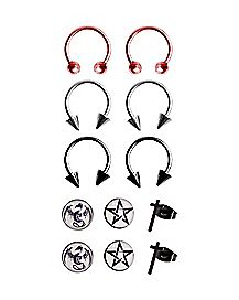 Dragon Pentagram Stud Horseshoe Earring 6 Pack - 18 Gauge
