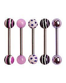 Pink & Purple Star Barbell 5 Pack - 14 Gauge