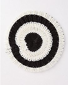 Striped Beret Beanie Hat