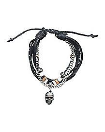 Multi Strand Chain Faux Leather Skull Bracelet