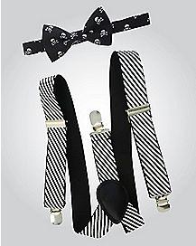 Skull Striped Bow Tie Suspender Set